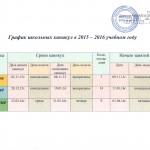 график школьных каникул на 2015-2016 уч. год